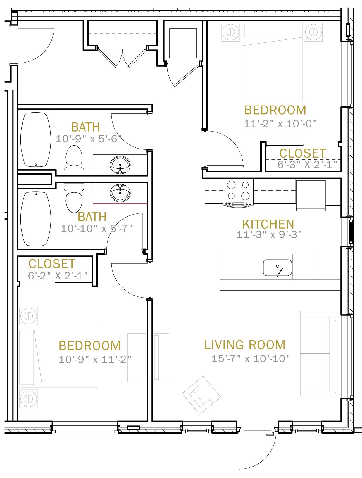 Two Bedroom 950 Sqft