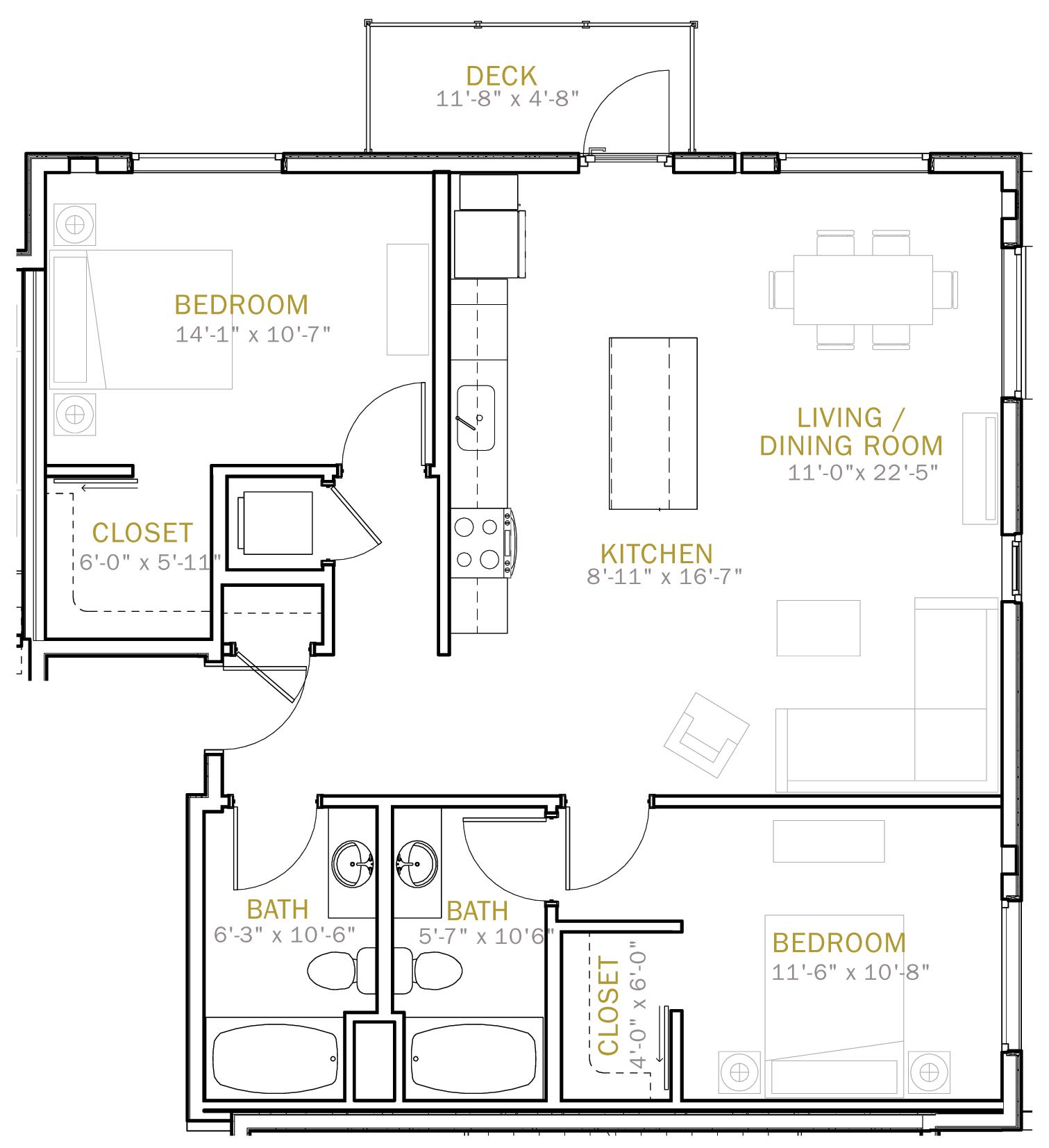 Two Bedroom 1020 Sqft