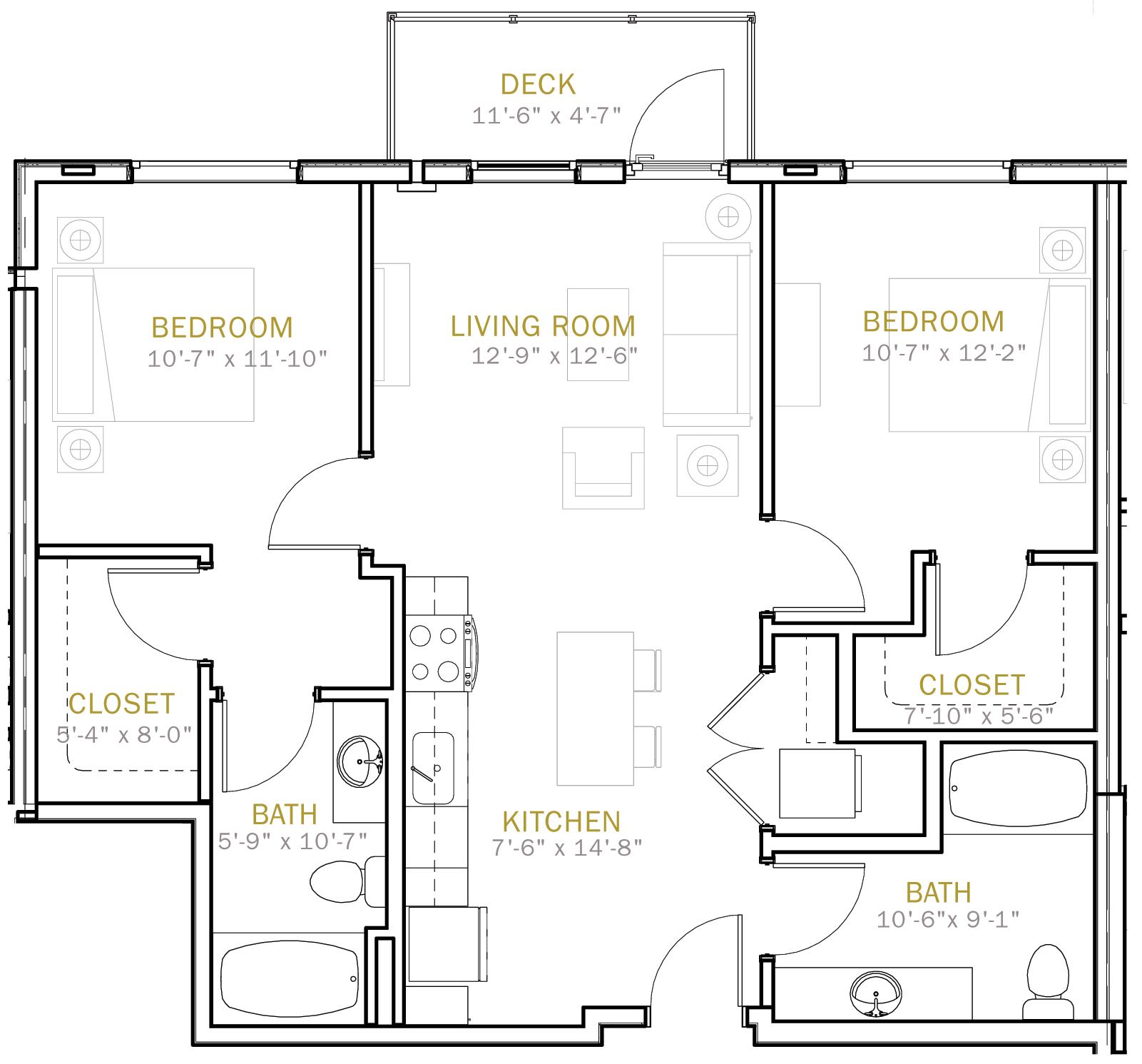 Two Bedroom 965 Sqft