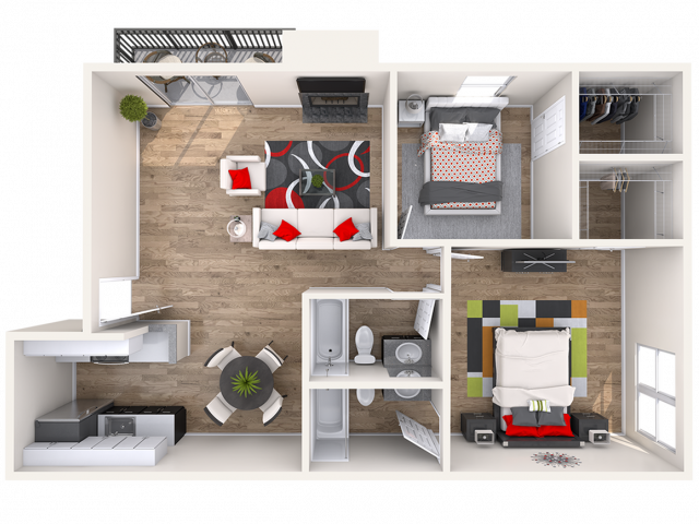 2 Bedroom Floor Plan | Lakewood Apartments | Waterfront