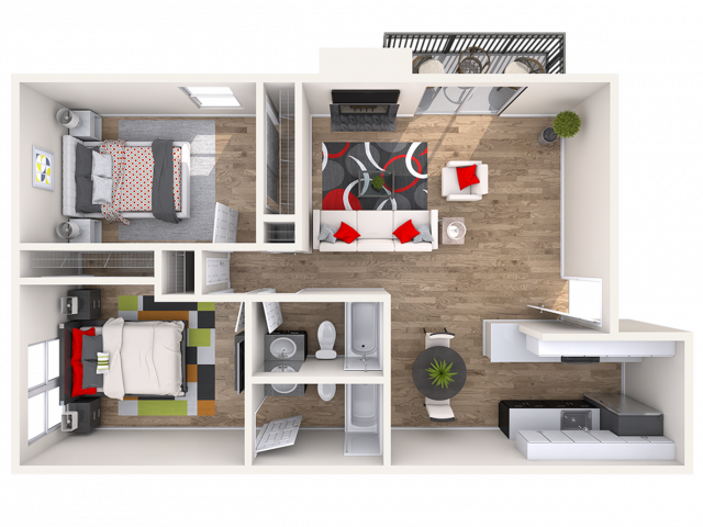 2 Bdrm Floor Plan | Pet Friendly Apartments In Lakewood CO | Waterfront