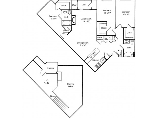 Westcott w/ Loft Renovated | 3 bed 2 bath | from 1465 square feet
