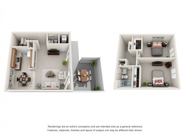 Two Bedroom Townhome 3D