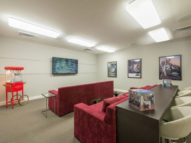 Community theater room with couches, large screen, and popcorn maker