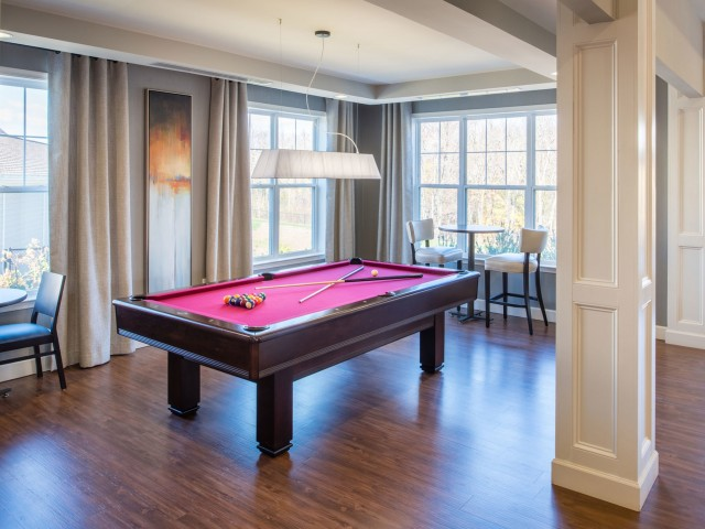 Pool table in the community center at Prospect Hall Apartments
