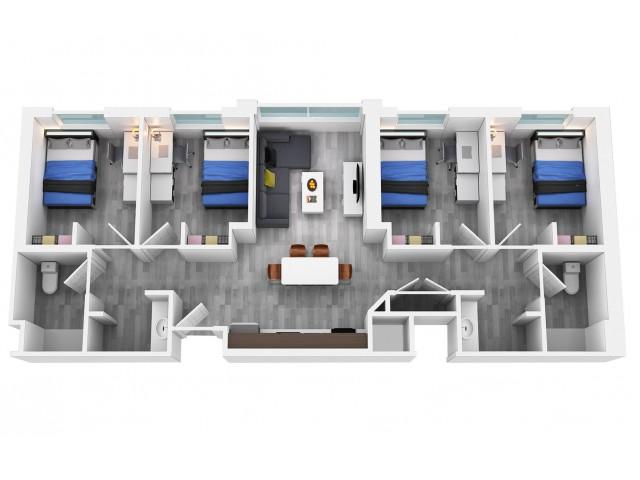 4 bedroom 2 bathroom floorplan