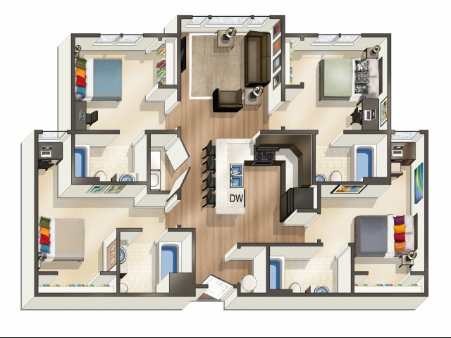 All|Floor Plans4 Bedroom 4 Bath