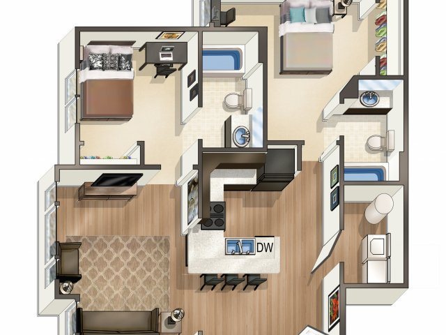 Studio - 4 Bed Apartments | River Edge