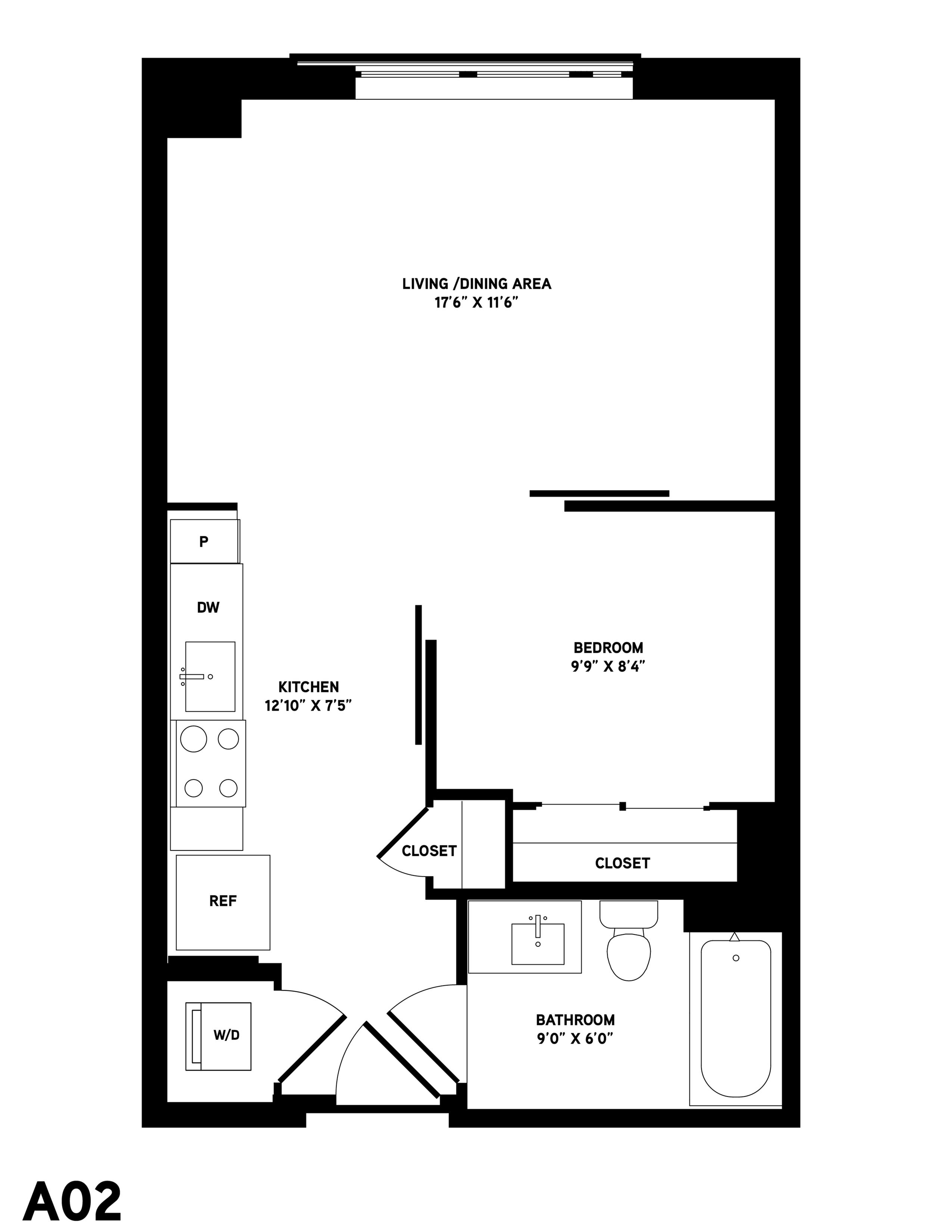 1 Bedroom Floor Plan | The Rixey | Off-Campus Student Housing In Arlington VA