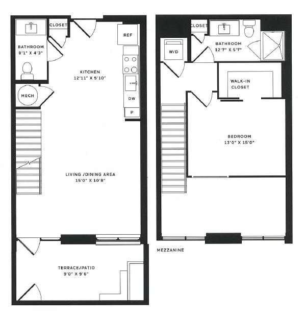 1 Bdrm Floor Plan | The Rixey | Student Apartments In Arlington VA