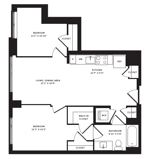 2 Bedroom Floor Plan | The Rixey | Student Housing Arlington VA