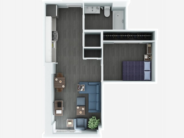 Jr 1 Bedrooom Floor Plan | The Rixey | Student Housing Arlington VA