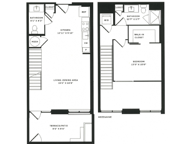 1 x a Loft Floor Plan  | The Rixey | Student Apartments In Arlington VA