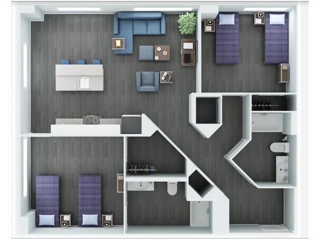 2 Bedroom Floor Plan 7 | The Rixey | Student Apartments In Arlington VA