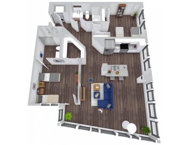 2 Bedroom Premium Floor Plan   The Rixey   Off-Campus Student Housing In Arlington VA