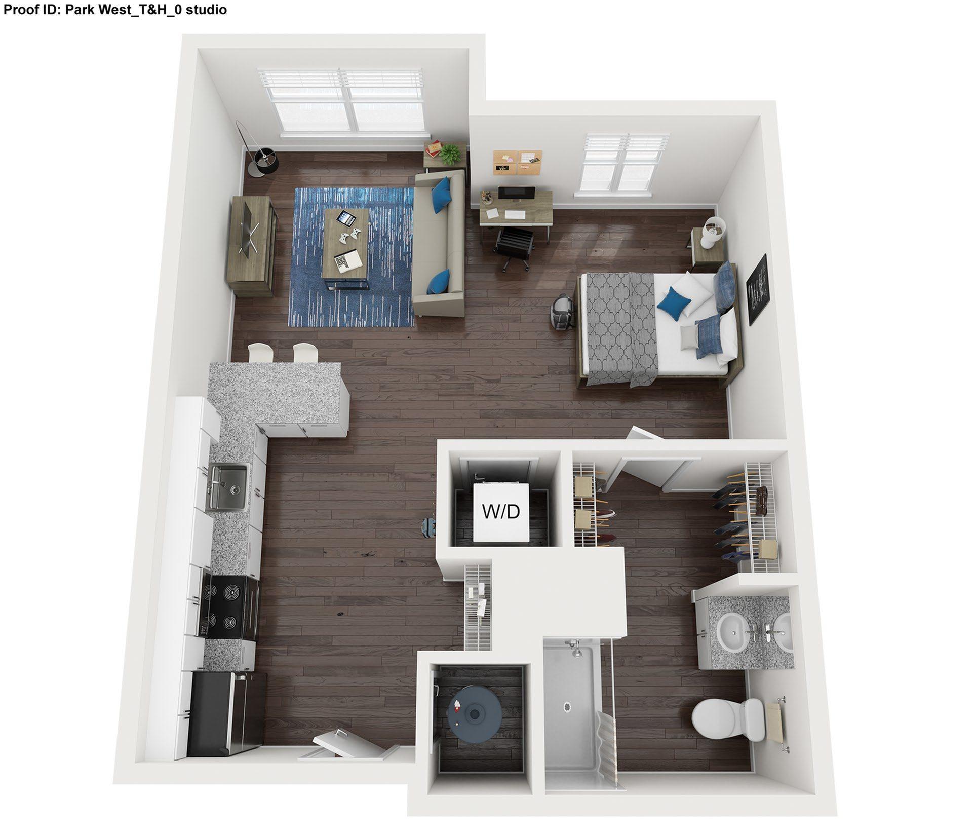 Studio Floor Plan |  Park West  | Apartments In College Station, Texas