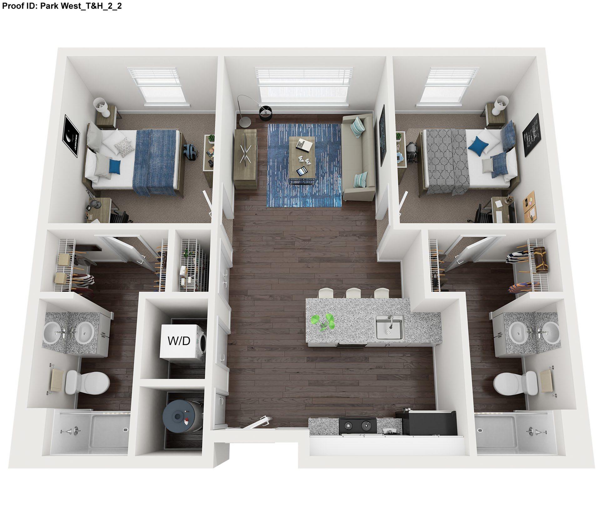 2 Bedroom Floor Plan  |  Park West  | Apartments In College Station, Texas