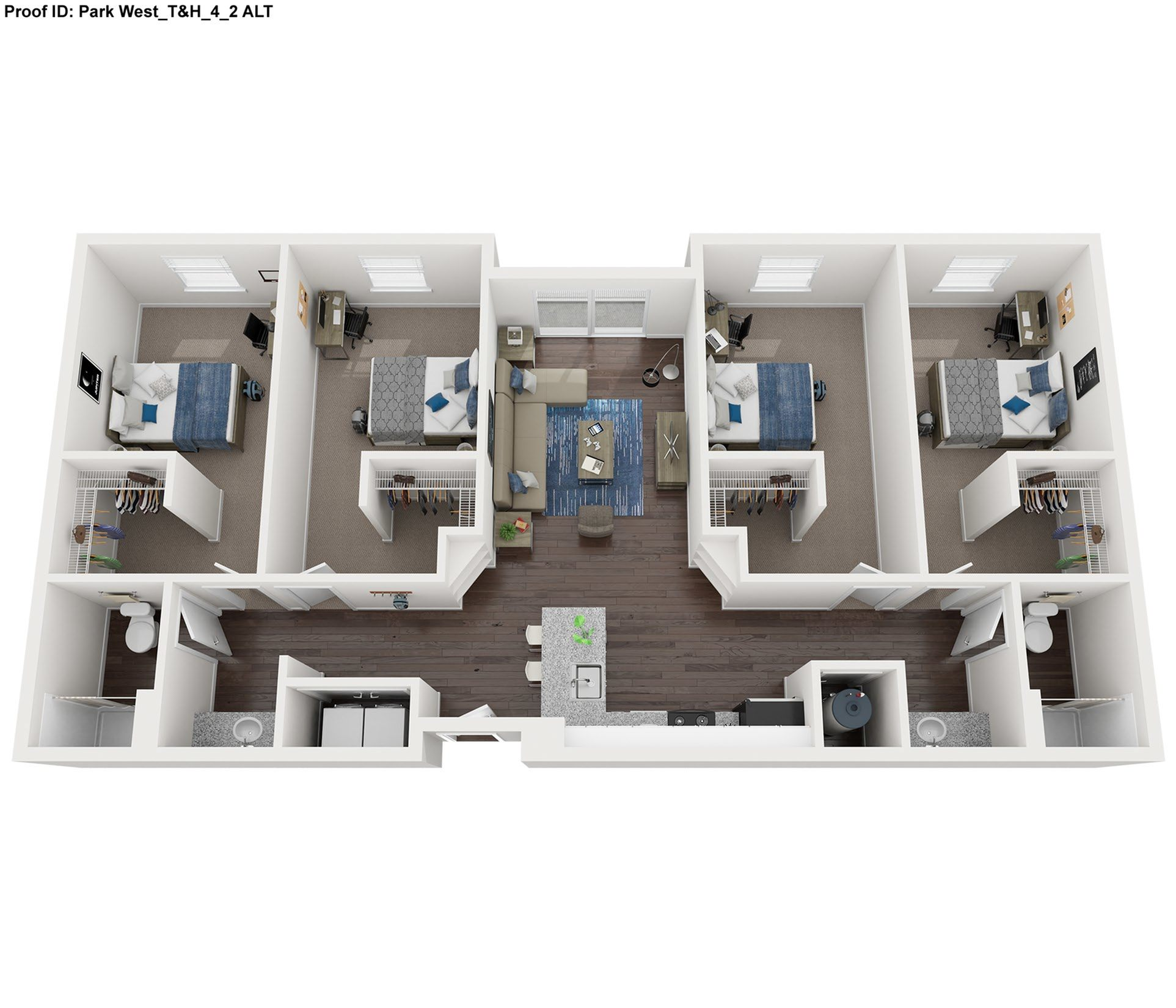 4 Bedroom 2 Bathroom Floor Plan