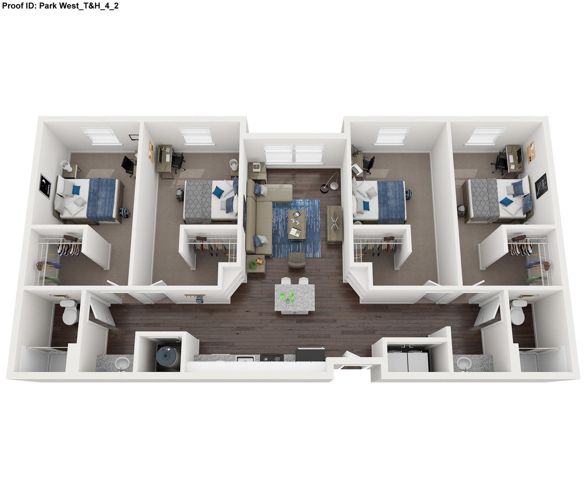 4 Bdrm 2 Bath Floor Plan