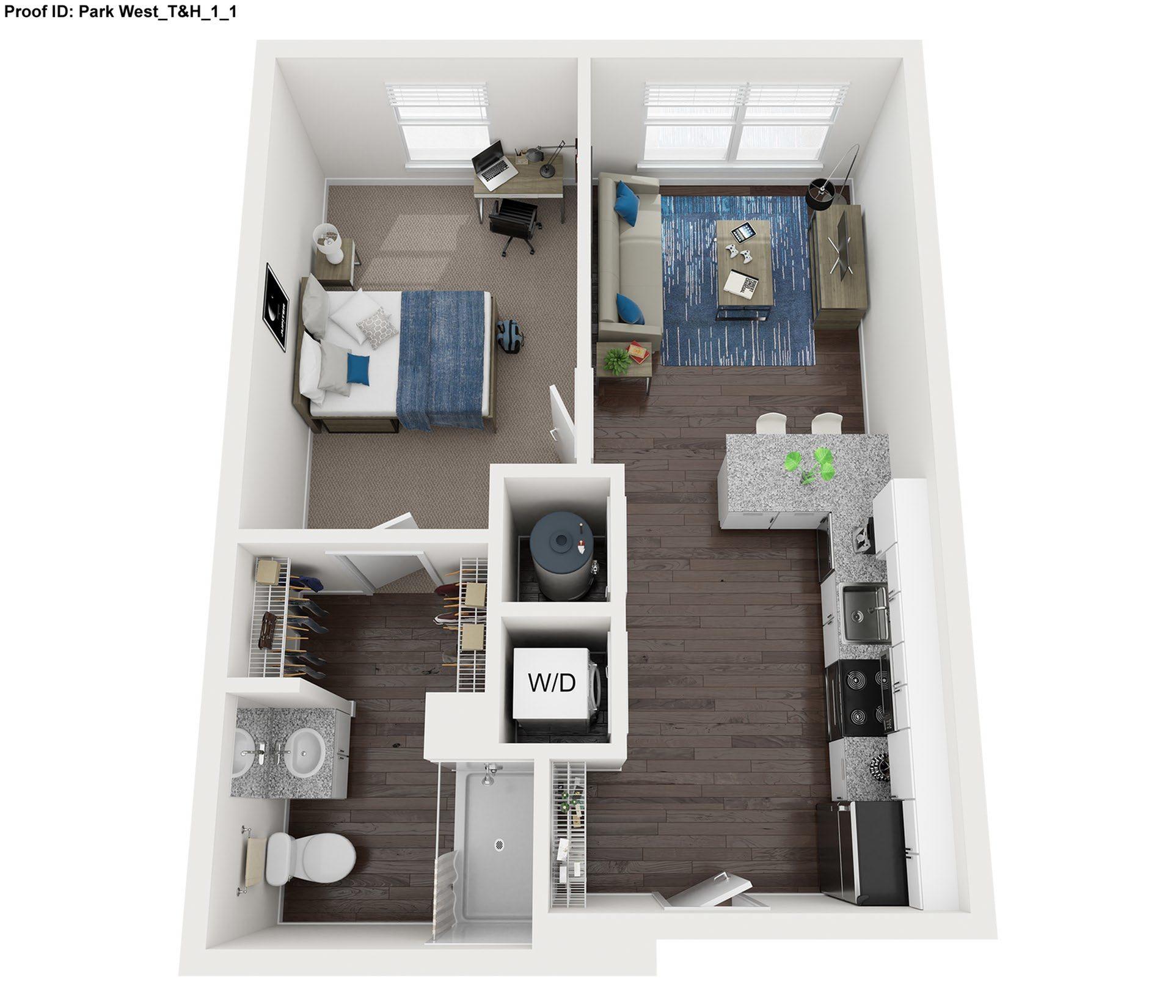 1 Bedroom 1 Bathroom Floor Plan  |  Park West  | Apartments In College Station, Texas