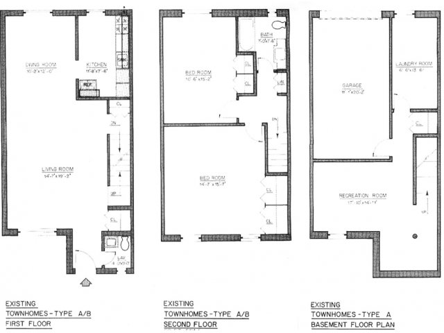 Floor plan for Type A with 1.5 Bathroom