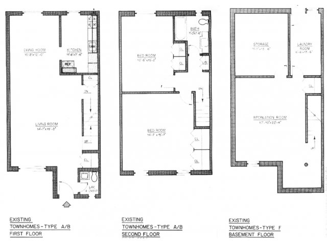 Floor plan for Type F with 1.5 Bathroom