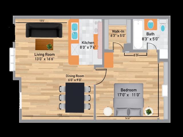The Oak 1 Bedroom/1 Bath Floor Plan 630 Square Feet
