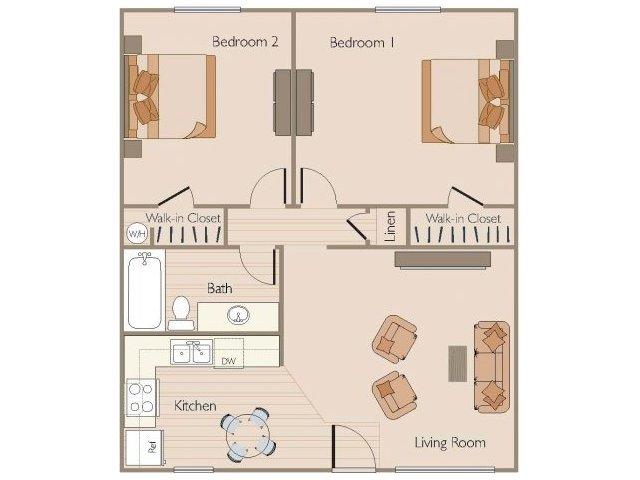 2 Bedrooms 1 Bath