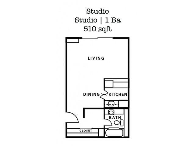 Studio- 510 Sq. Ft.