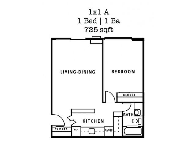 1 Bedroom Plan A- 725 Sq. Ft.