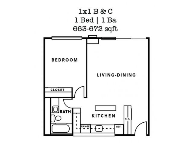 1 Bedroom Plan B- 663 Sq. Ft.