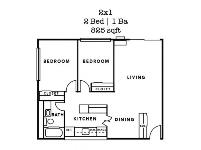 2 Bedroom- 825 Sq. Ft.