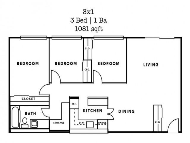 3 Bedroom- 1081 Sq. Ft.