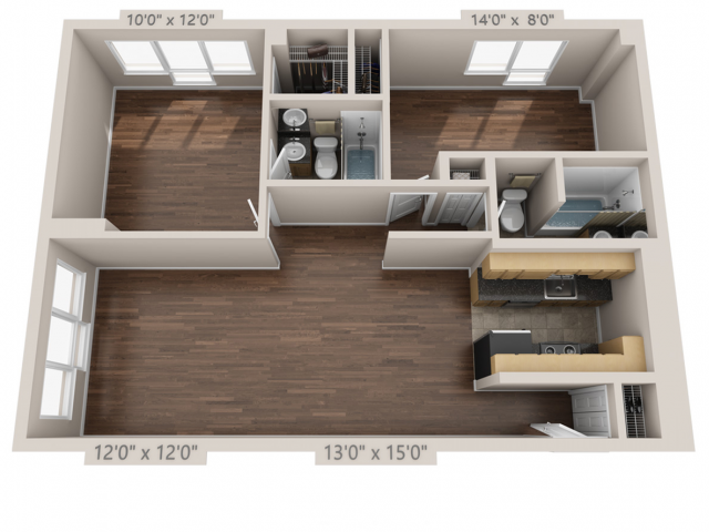 Amazing All Floor Plans2 bed B Modern For Your House - Simple Elegant 2 bedroom 2 bath apartment Contemporary