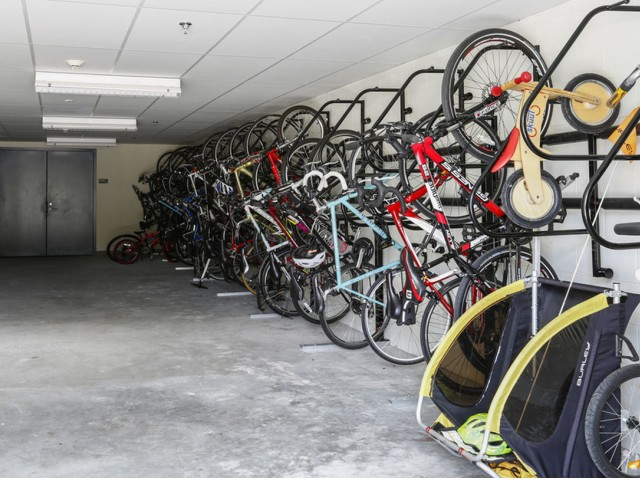 Climate and access controlled bike storage room