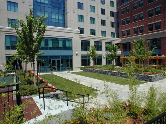 Image of Beautiful landscaped courtyard with children's playground for Metro Rental LLC