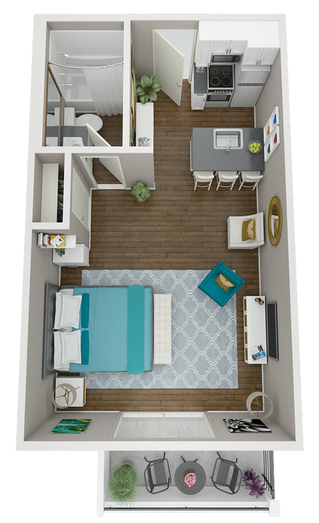 The Cabrillo floor plan features an efficient, open layout, breakfast bar, and fully equipped kitchen!