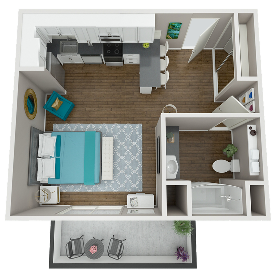 Our deluxe flat, the Hatfield features an open concept kitchen, spacious bathroom, and extra-large balcony.