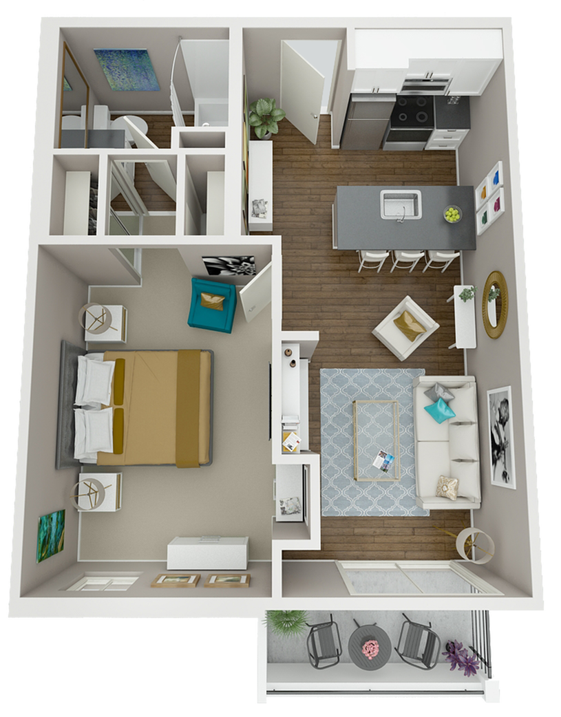The Marston is our most popular one bedroom floor plan.  The spacious bedroom and dual mirrored closets will leave you feeling pampered in your Warwick retreat!
