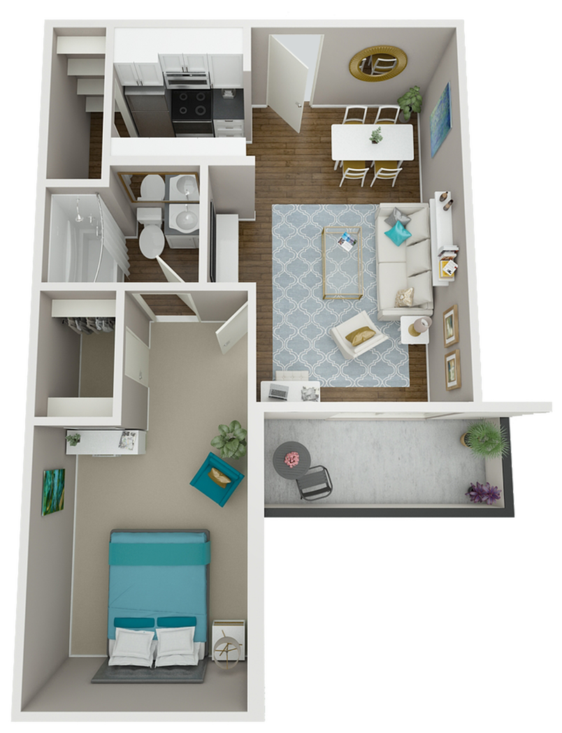 The Vermont floor plan features a large walk-in closet, beautiful west-facing views, and a spacious balcony!