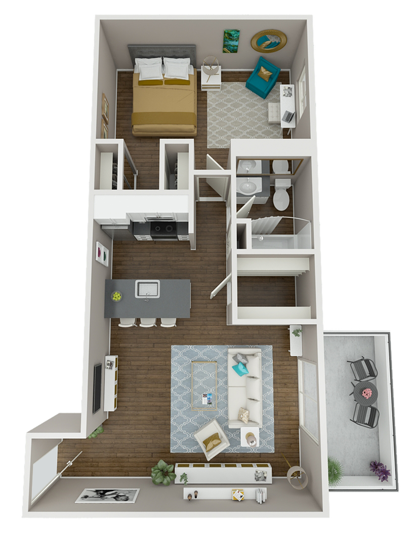 Our largest, deluxe floor plan!  These generously-sized corner units feature closet space galore, extra large balconies, and hard-surface flooring in both the living and bedroom.  Only four of this exclusive floor plan exist at The Warwick!