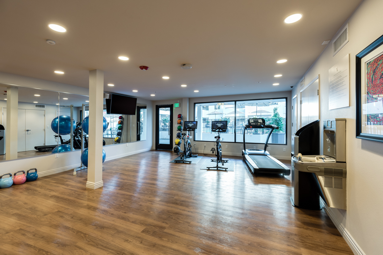 Image of Curated fitness center with pool view featuring Peloton bikes for The Warwick