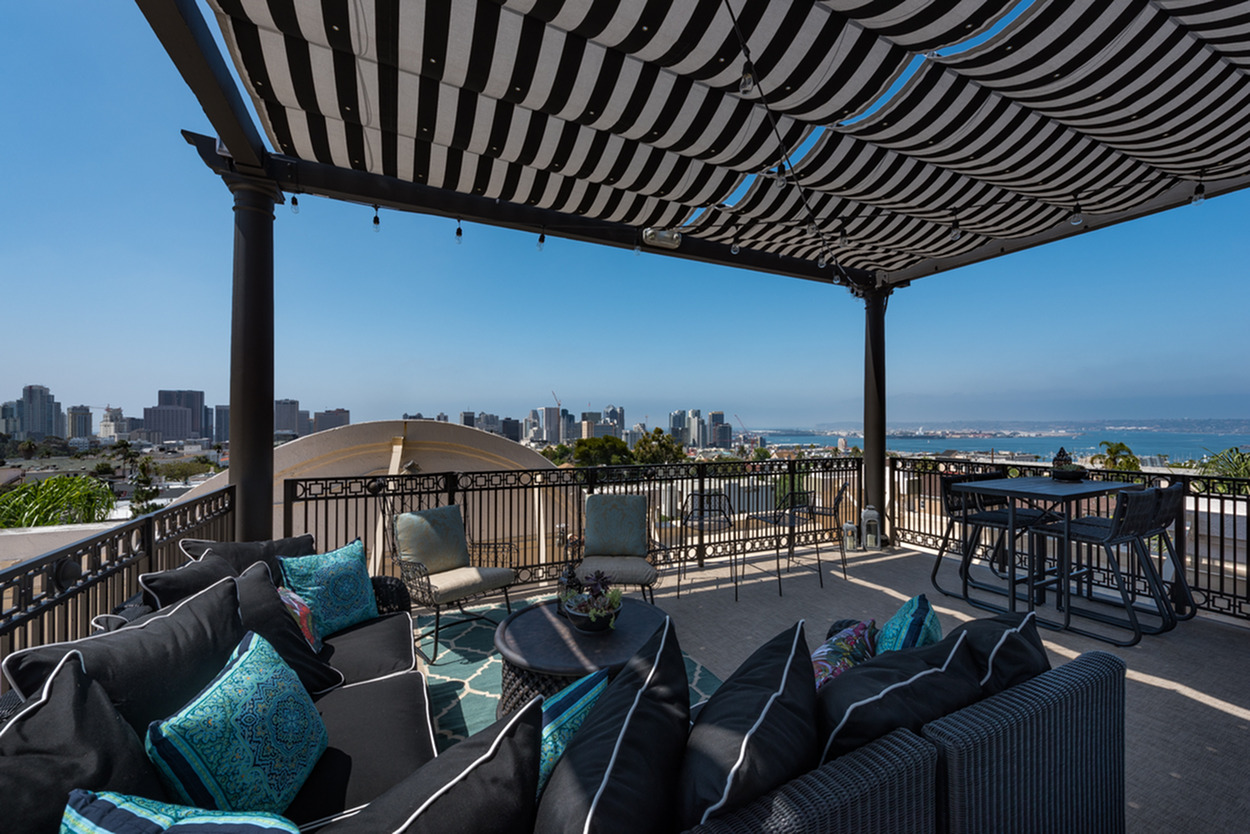 Image of Rooftop deck with panoramic views of the Pacific Ocean, Coronado, San Diego Bay, and Downtown skyline for The Barcelona