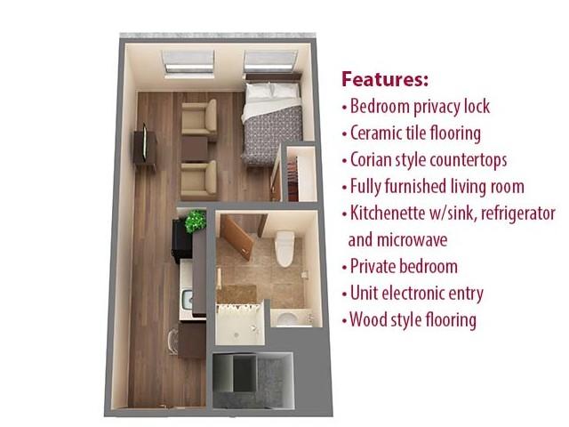 1 Bdrm Floor Plan | 1 Bedroom Apartments Norman OK | Cross OU