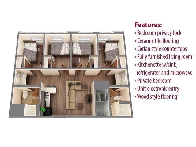 Floor Plan 4 | University Of Oklahoma Apartments | Cross OU