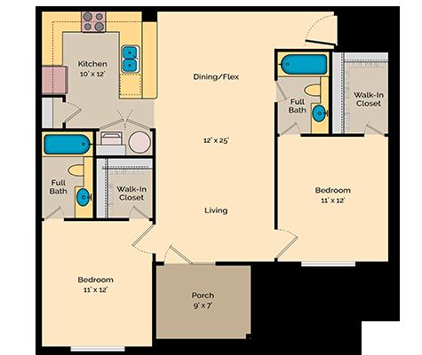 aspire 349 two bedroom floor plan