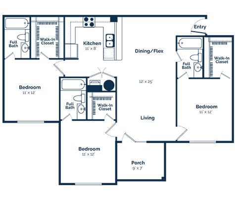 aspire 349 three bedroom floor plan