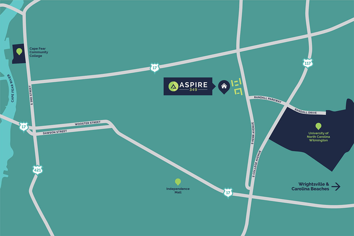Aspire 349 | Student Apartments in Wilmington, NC near UNCW on uncw campus life, uncw campus map printable, uncw bookstore,