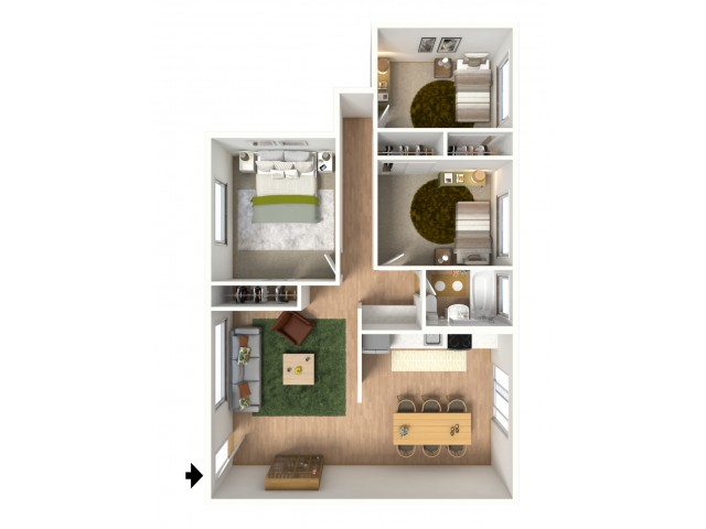 3D floorplan of three-bedroom, one-bathroom unit with furniture