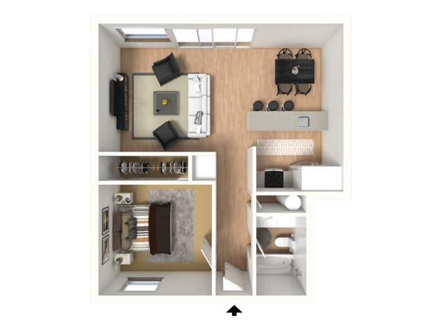 3D floorplan of one-bedroom, one-bathroom with furniture